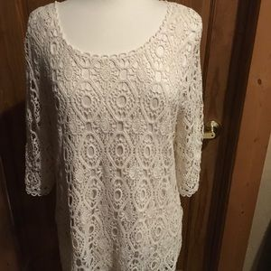 Christopher & Banks cream lace sweater